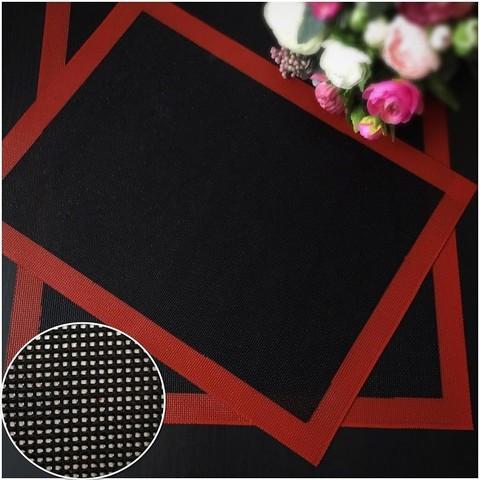 Коврик перфорированный силиконовый для выпечки Красный\Черный