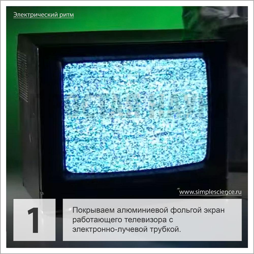 Покрываем алюминиевой фольгой экран работающего телевизора с электронно-лучевой трубкой.