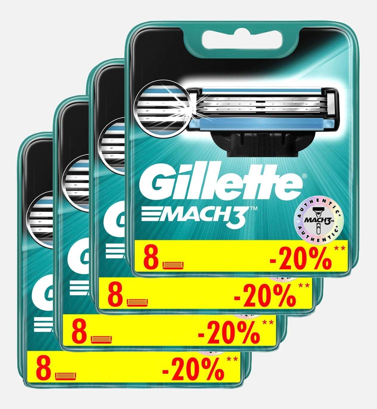 Gillette mach3 комплект (4х8) 32 шт. (Цена за 1 пачку 810р.)