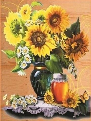 Алмазная Мозаика 40x50 Подсолнухи, ромашки и баночка с медом (арт. SGA2019 )