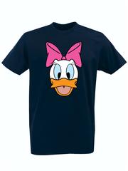 Футболка с принтом мультфильма Дональд Дак и Дейзи Дак (Donald  Duck/ Daisy Duck) темно-синяя 002
