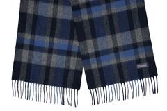 Шерстяной шарф, мужской синий в клетку 31441