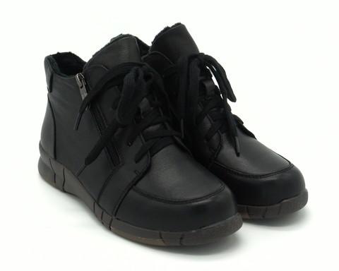 Ботинки кожаные на шнуровке с молнией