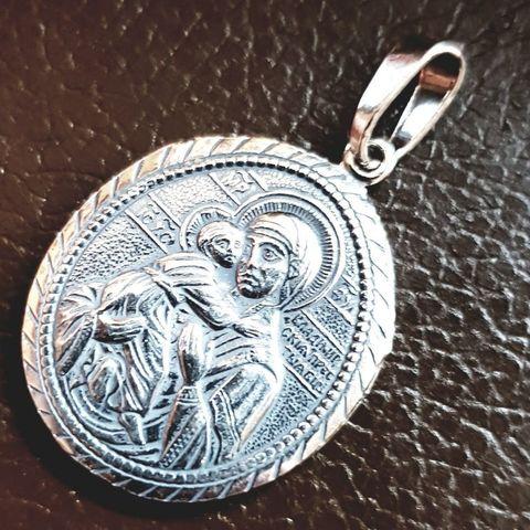 Нательная икона Божией Матери Владимирская с серебрением кулон с молитвой