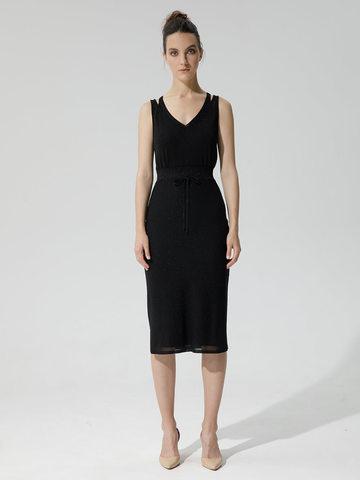 Женская двухслойная юбка-карандаш с люрексом черного цвета - фото 2