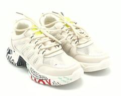 Пудровые кроссовки из искусственной кожи на яркой подошве