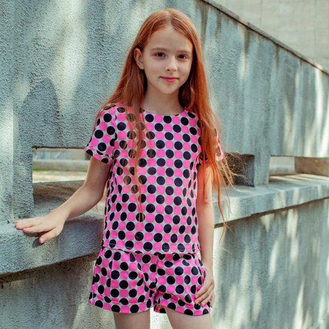 Дитячий фіолетовий костюм футболка і шорти для дівчаток