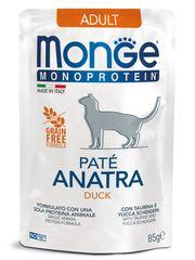 Паучи для взрослых кошек, Monge Cat Monoprotein Pouch, с уткой
