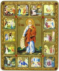 Большая подарочная икона Пророк Илия Фесвитянин с житийными сценами 37х30см на натуральном дереве