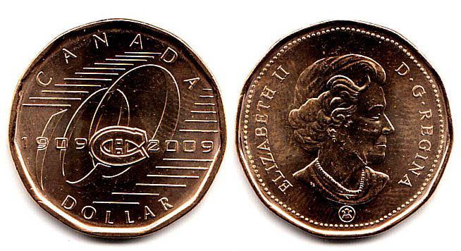 """1 доллар """"100 лет хоккейному клубу клубу Montreal Canadiens"""" 2009 год UNC"""