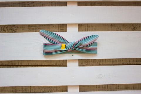 Повязка на голову (солоха) серо-голубая в розовую полоску
