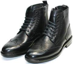 Стильные зимние ботинки мужские LucianoBelliniBC3801L-Black .