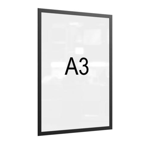 Рамка магнитная настенная Attache А3 ПЭТ, черная, 5 шт/уп