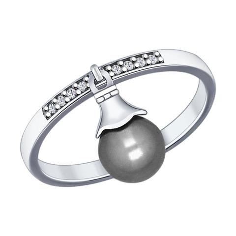 94012030 - Кольцо из серебра с подвеской круглым жемчугом swarovski и фианитами