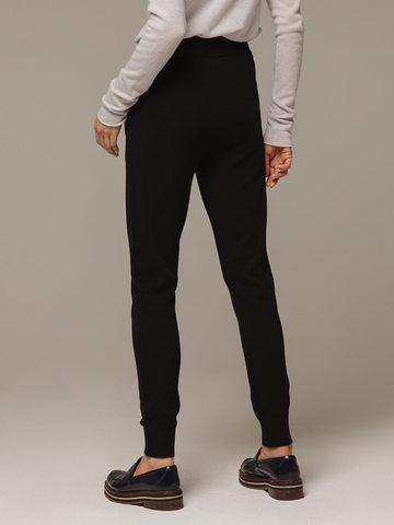 Женские черные брюки с карманами из шерсти и кашемира - фото 4