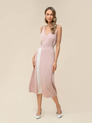 Женская юбка светло-розового цвета с контрастной полосой из шелка и вискозы - фото 2