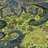 Крепдешин в ориентальный принт жёлто-зелёный и голубой