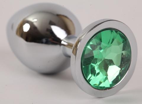 Анальная пробка серебрянная с зеленым кристаллом 9,5х4см 47046-2-MM