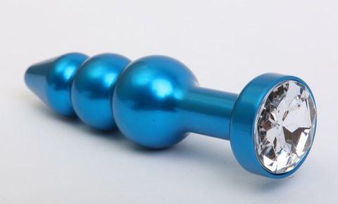 Синяя фигурная анальная пробка с прозрачным кристаллом - 11,2 см.
