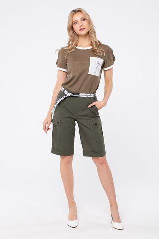 Фото весенне-летние прямые шорты с отворотами цвета хаки - Брюки А502а-135 (1)
