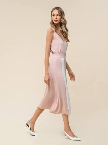 Женская юбка светло-розового цвета с контрастной полосой из шелка и вискозы - фото 4
