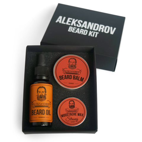 Набор ALEKSANDROV Beard Kit № 03 (Oil Sunrise, Balm Sunset, Wax Strong Sunset)