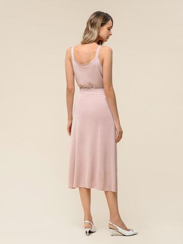 Женская юбка светло-розового цвета с контрастной полосой из шелка и вискозы - фото 3