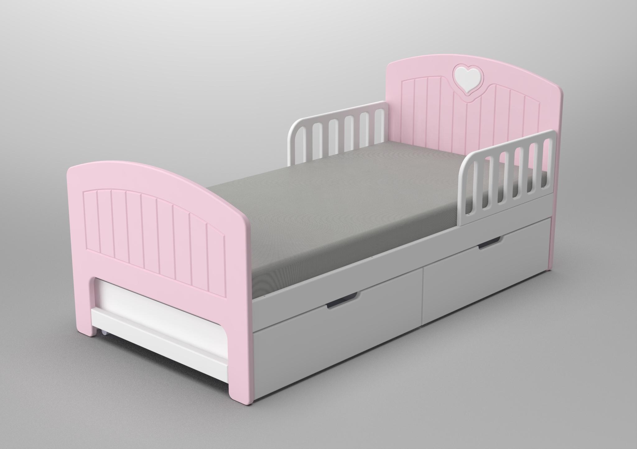 Кровать с ящиками Мечта Розовая