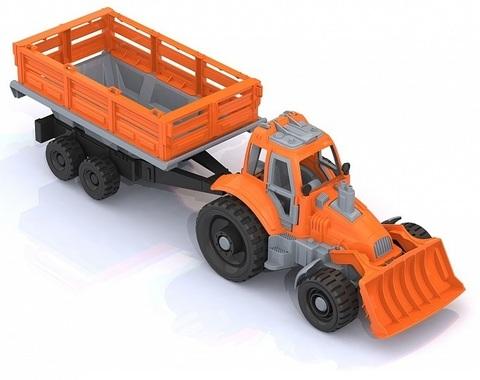 Трактор с грейдером и прицепом, Нордпласт, 397