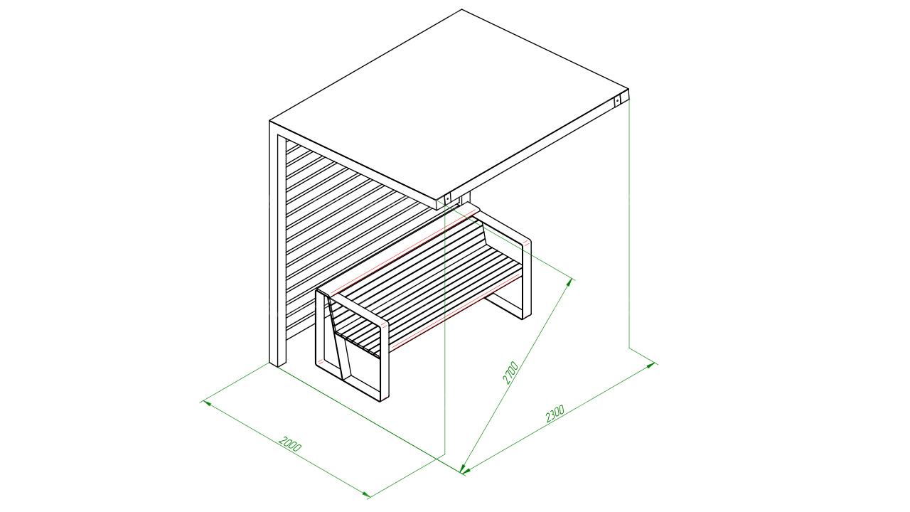 Скамейка с навесом SCAM0118