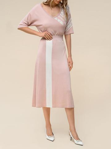 Женская юбка светло-розового цвета с контрастной полосой из шелка и вискозы - фото 5