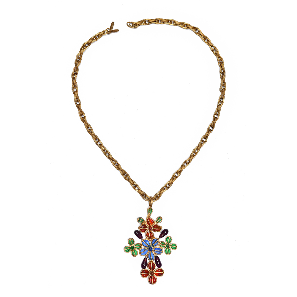 Chanel Gripoix Flower Cross Necklace