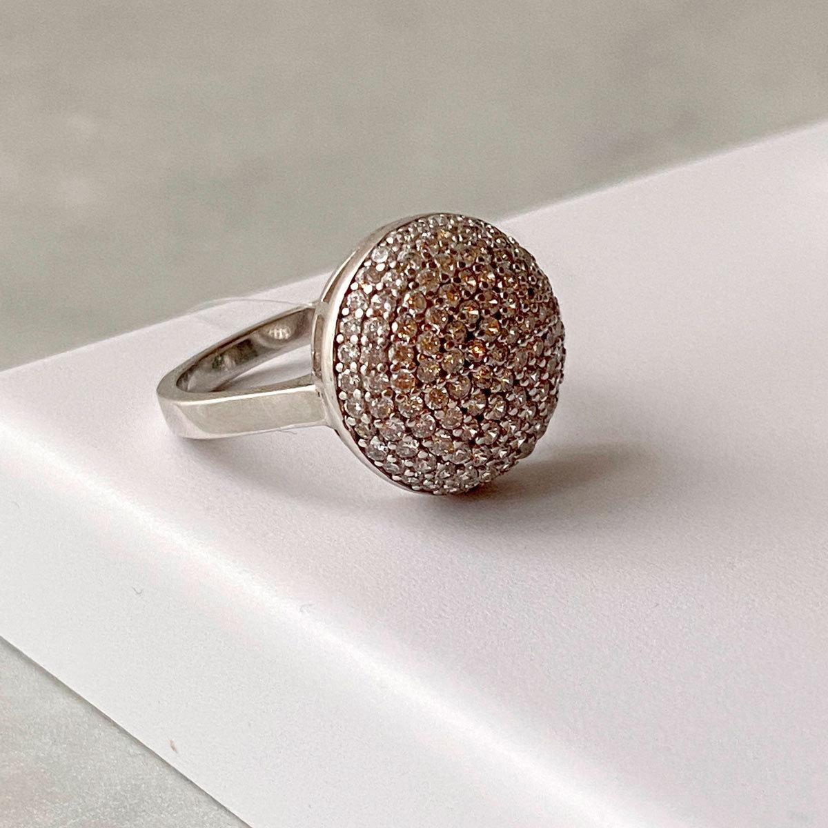 Кольцо с округлым объемным пале (цирконы, серебро 925)