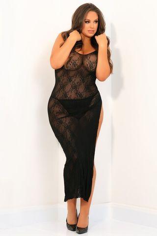 Пикантное длинное платье с геометрическим рисунком