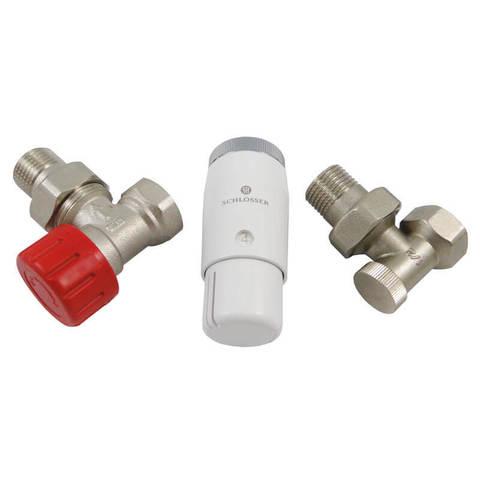 Комплект угловой, никель, DN 15 GZ1/2 x GW1/2 с головкой Мини M30x1,5