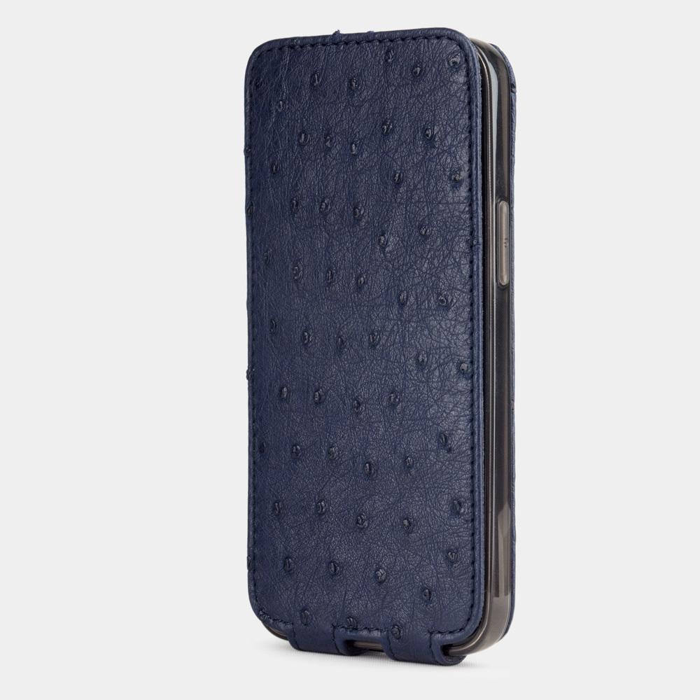 Чехол для iPhone 12 Mini из натуральной кожи страуса, синего цвета