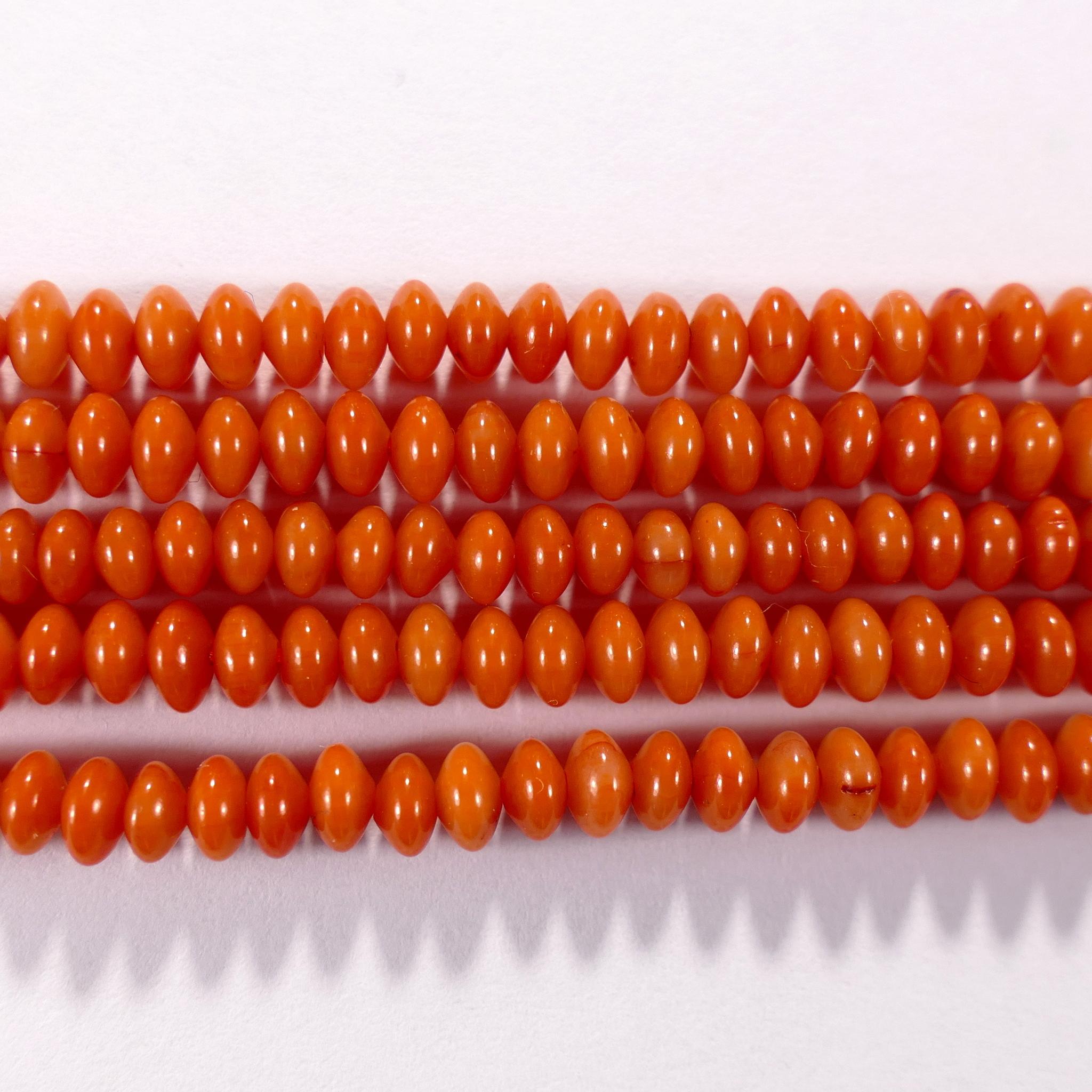 Нить бусин из коралла оранжевого, облагороженного, фигурные, 2x4 мм (рондель плоская, гладкая)