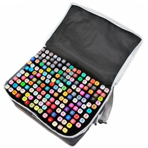 Mazari Fantasia набор маркеров для скетчинга 168 шт в сумке пенале - двусторонние спиртовые пуля/долото 3.0-6.2 мм (вкл. блендер)