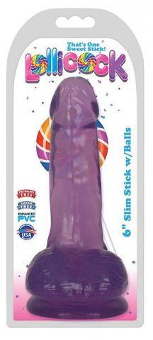 Фиолетовый гелевый фаллоимитатор Slim Stick with Balls - 15,2 см.