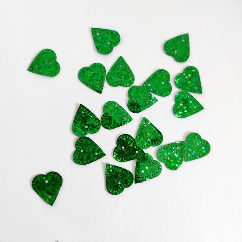 Пайетки лист липы зеленый голограф 50грамм