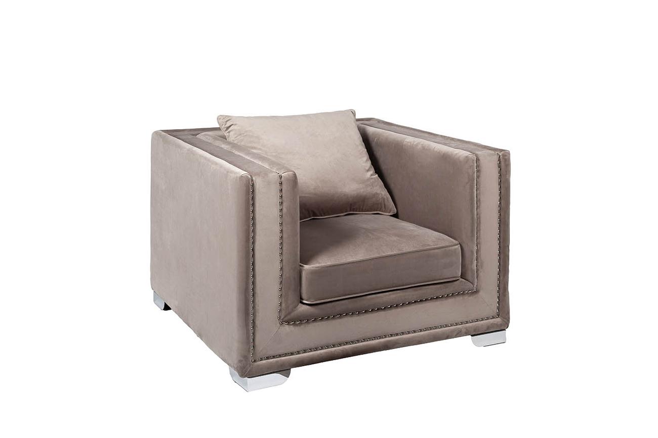 Кресло велюровое серое (48MY-1245-1 GRE) Garda Decor