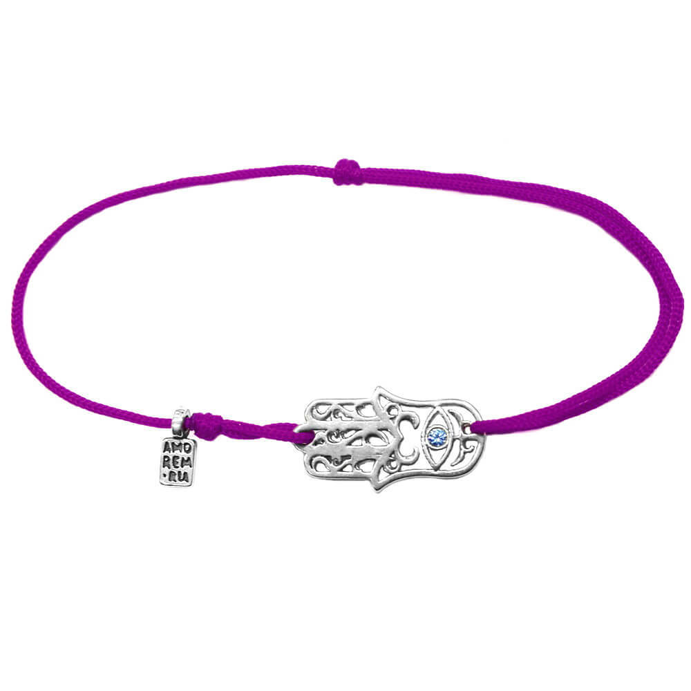 Hamsa bracelet with blue cubic zirconia, sterling silver