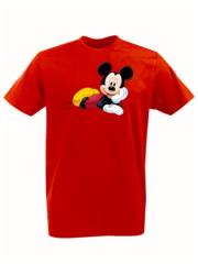 Футболка с принтом Микки Маус (Mickey Mouse) красная 0012