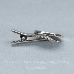 Основа для заколки с сеттингом для кабошона 18 мм, 34х19 мм (цвет - платина)