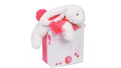 Doudou et Compagnie. Pompon MM rabbit strawberry 35cm