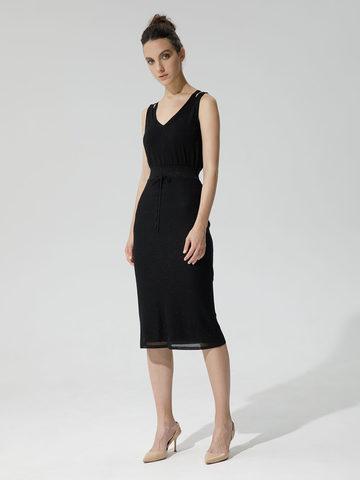 Женская двухслойная юбка-карандаш с люрексом черного цвета - фото 4