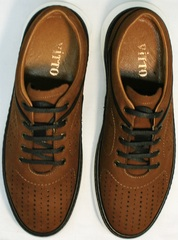 Удобные кроссовки для ходьбы мужские Vitto Men Shoes 1830 Brown White