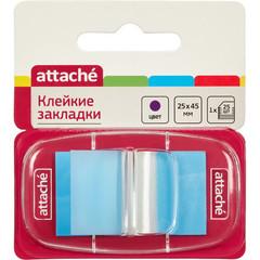 Клейкие закладки Attache пластиковые синие 25 листов 25х45 мм в диспенсере