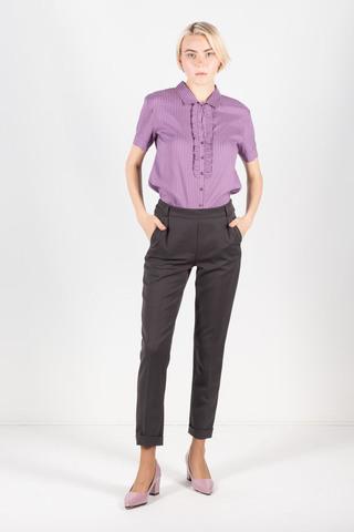Фото темно-серые укороченные зауженные брюки длиной 7/8 - Брюки А492-745 (1)