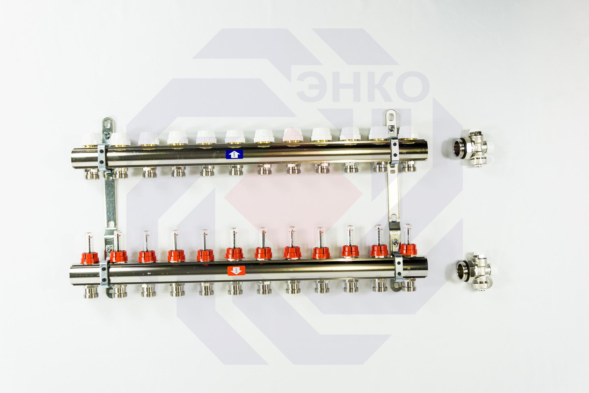 Комплект коллекторов с расходомерами ITAP 916C 12 контуров